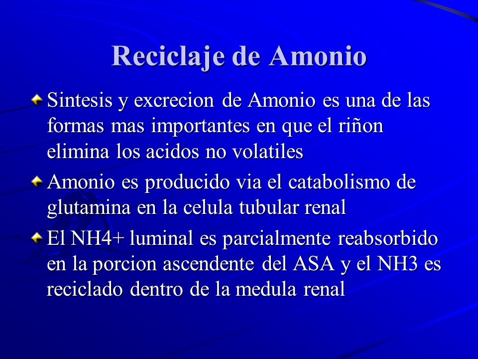 Reciclaje de AmonioSintesis y excrecion de Amonio es una de las formas mas importantes en que el riñon elimina los acidos no volatiles.