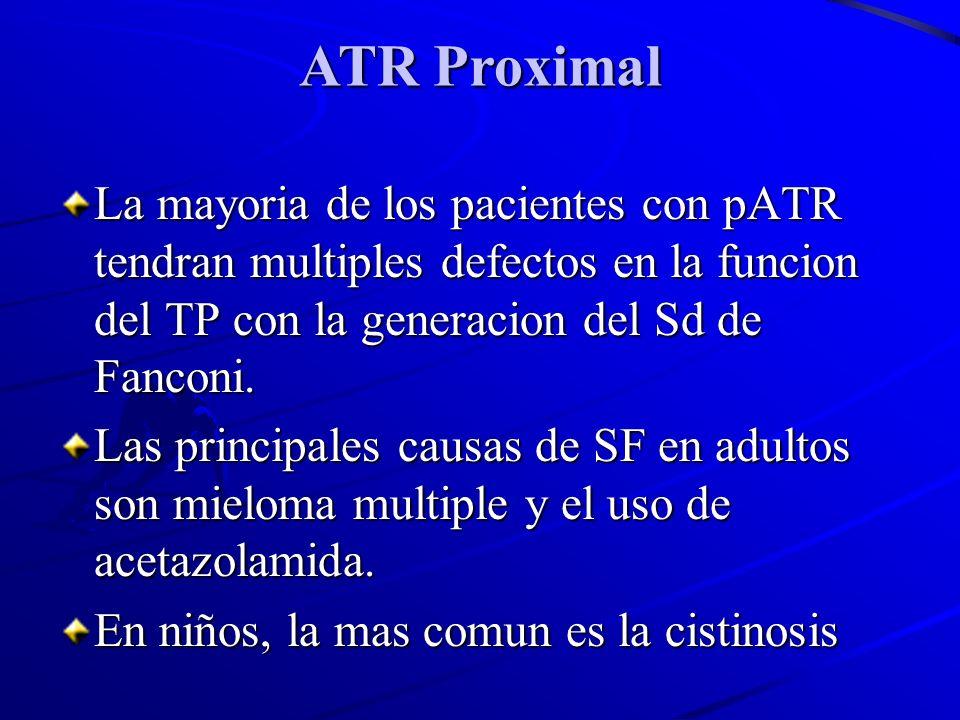 ATR ProximalLa mayoria de los pacientes con pATR tendran multiples defectos en la funcion del TP con la generacion del Sd de Fanconi.