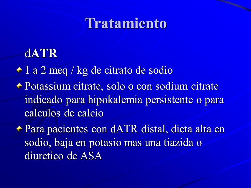 Tratamiento dATR 1 a 2 meq / kg de citrato de sodio