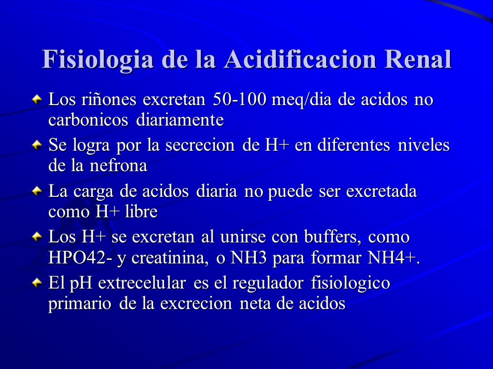Fisiologia de la Acidificacion Renal