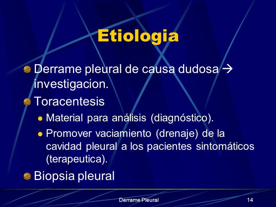 Etiologia Derrame pleural de causa dudosa  investigacion.