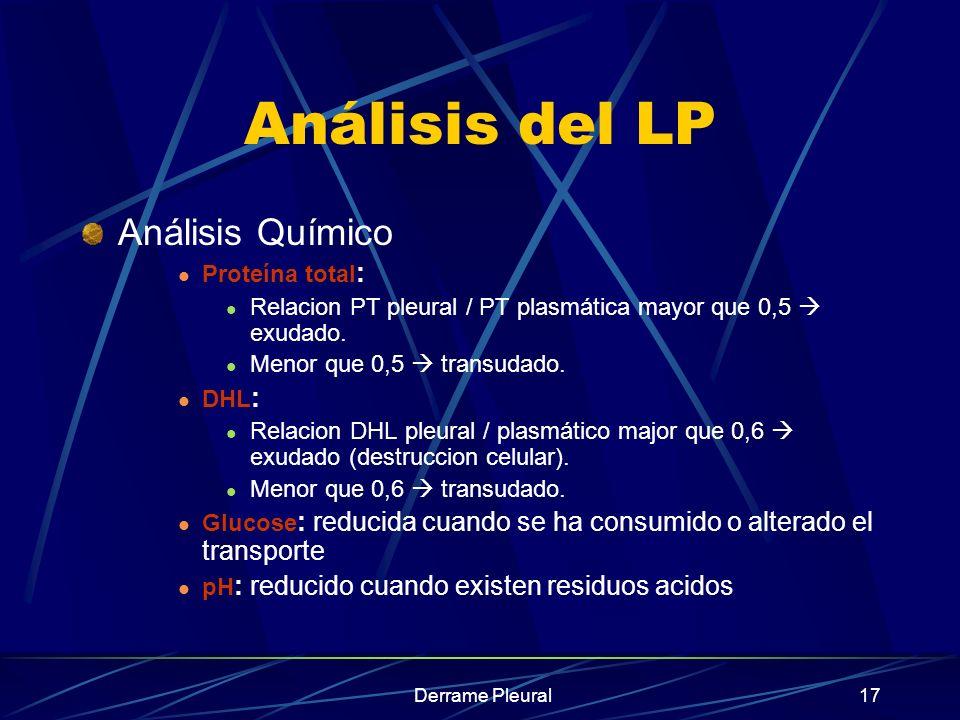 Análisis del LP Análisis Químico Proteína total: