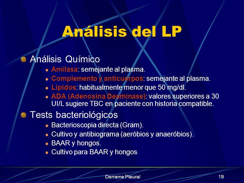 Análisis del LP Análisis Químico Tests bacteriológicos