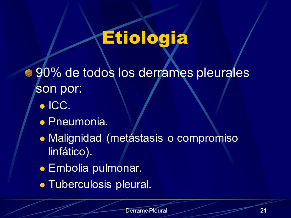 Etiologia 90% de todos los derrames pleurales son por: ICC. Pneumonia.