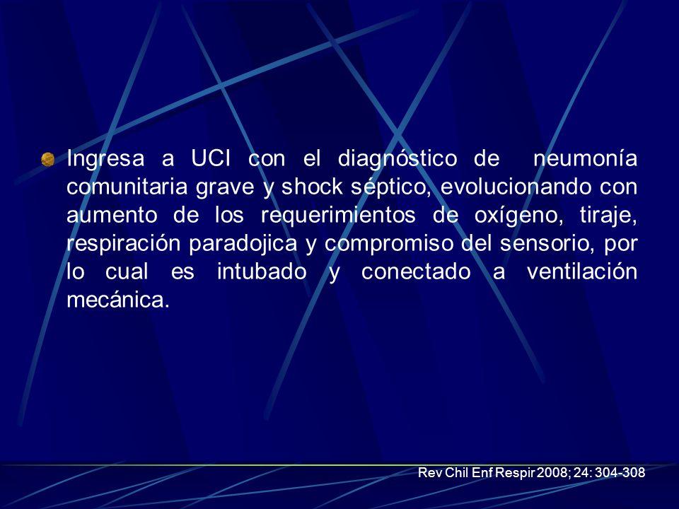 Ingresa a UCI con el diagnóstico de neumonía comunitaria grave y shock séptico, evolucionando con aumento de los requerimientos de oxígeno, tiraje, respiración paradojica y compromiso del sensorio, por lo cual es intubado y conectado a ventilación mecánica.