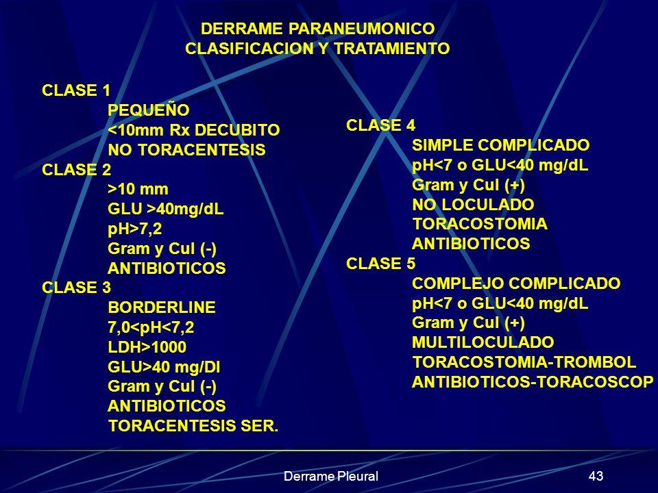 DERRAME PARANEUMONICO CLASIFICACION Y TRATAMIENTO