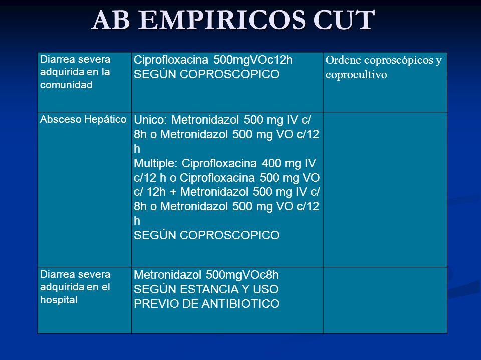 AB EMPIRICOS CUT Ciprofloxacina 500mgVOc12h SEGÚN COPROSCOPICO