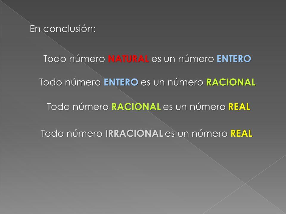 Todo número NATURAL es un número ENTERO