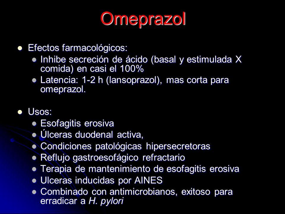 Omeprazol Efectos farmacológicos: