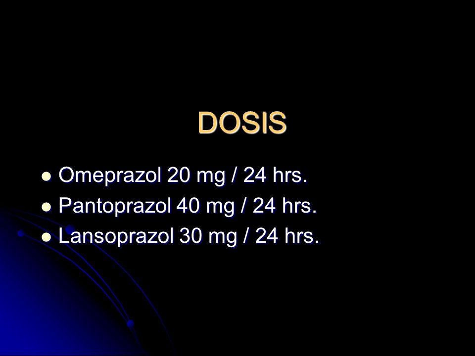 DOSIS Omeprazol 20 mg / 24 hrs. Pantoprazol 40 mg / 24 hrs.
