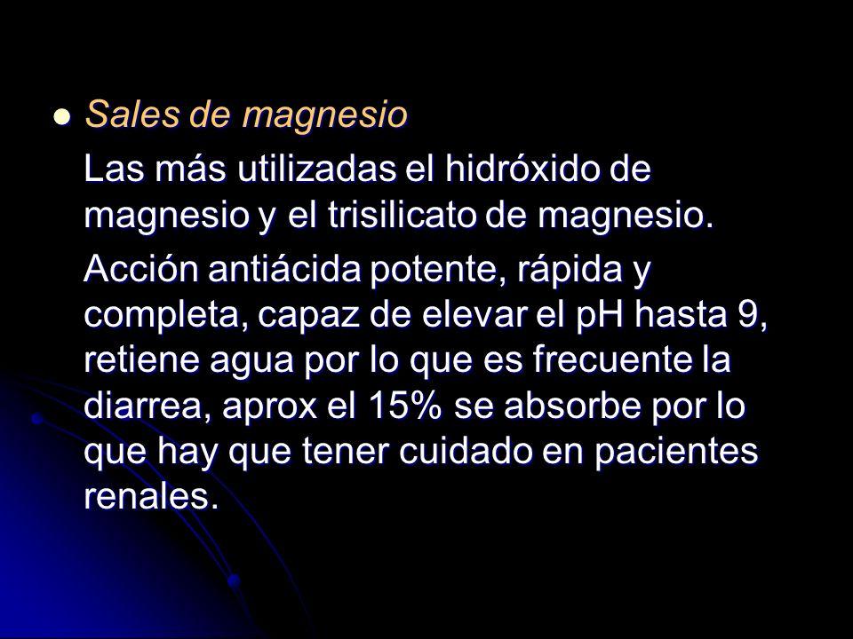 Sales de magnesio Las más utilizadas el hidróxido de magnesio y el trisilicato de magnesio.