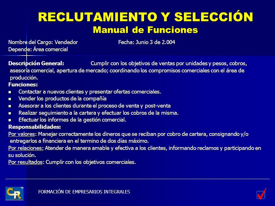 RECLUTAMIENTO Y SELECCIÓN Manual de Funciones