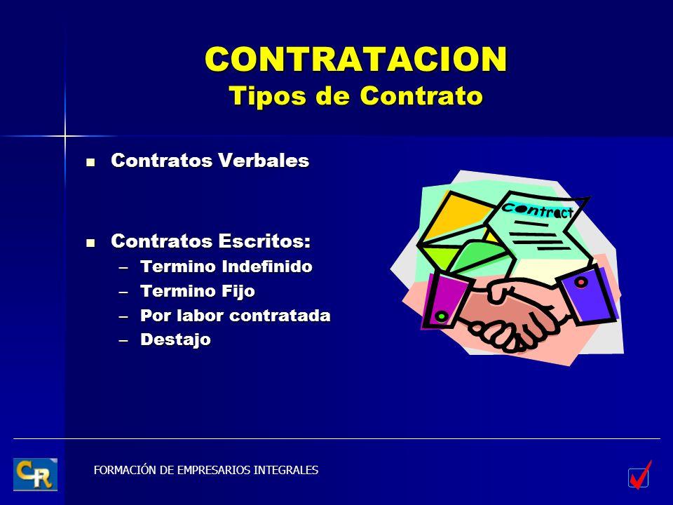 CONTRATACION Tipos de Contrato