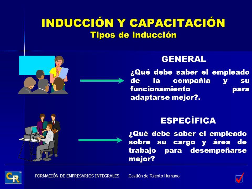 INDUCCIÓN Y CAPACITACIÓN Tipos de inducción