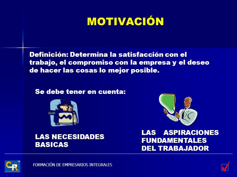 MOTIVACIÓN Definición: Determina la satisfacción con el trabajo, el compromiso con la empresa y el deseo de hacer las cosas lo mejor posible.