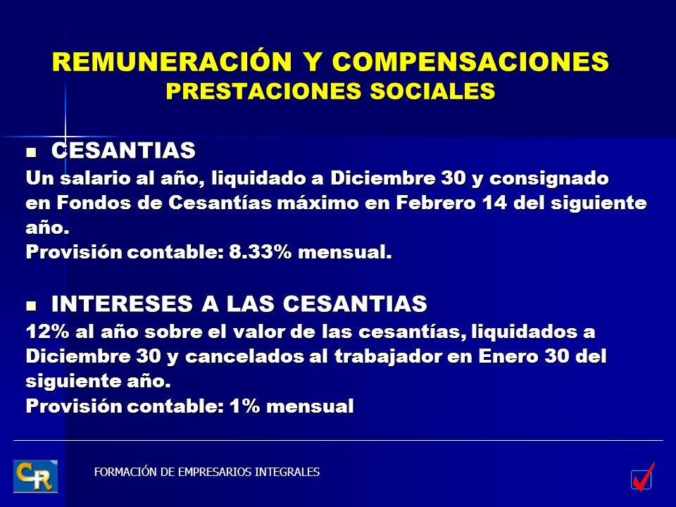 REMUNERACIÓN Y COMPENSACIONES PRESTACIONES SOCIALES