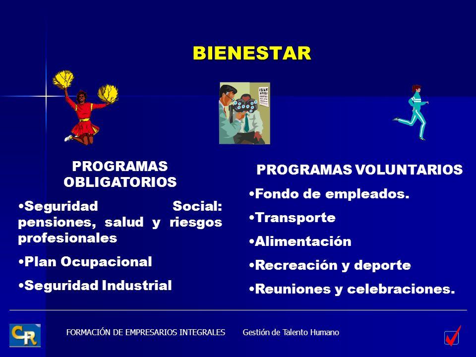BIENESTAR PROGRAMAS OBLIGATORIOS PROGRAMAS VOLUNTARIOS