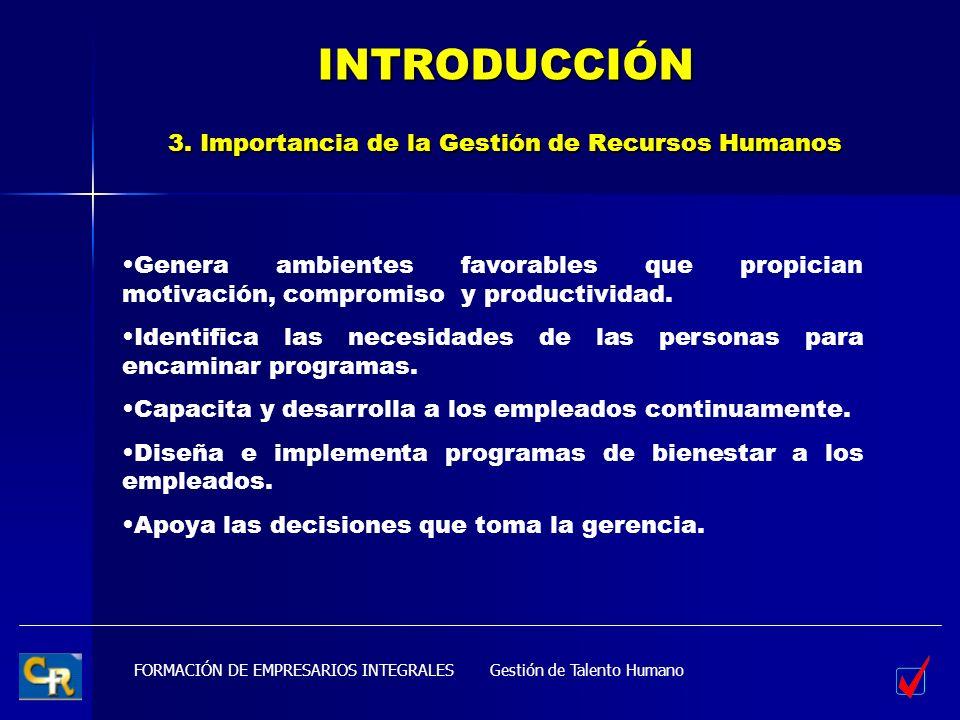INTRODUCCIÓN 3. Importancia de la Gestión de Recursos Humanos