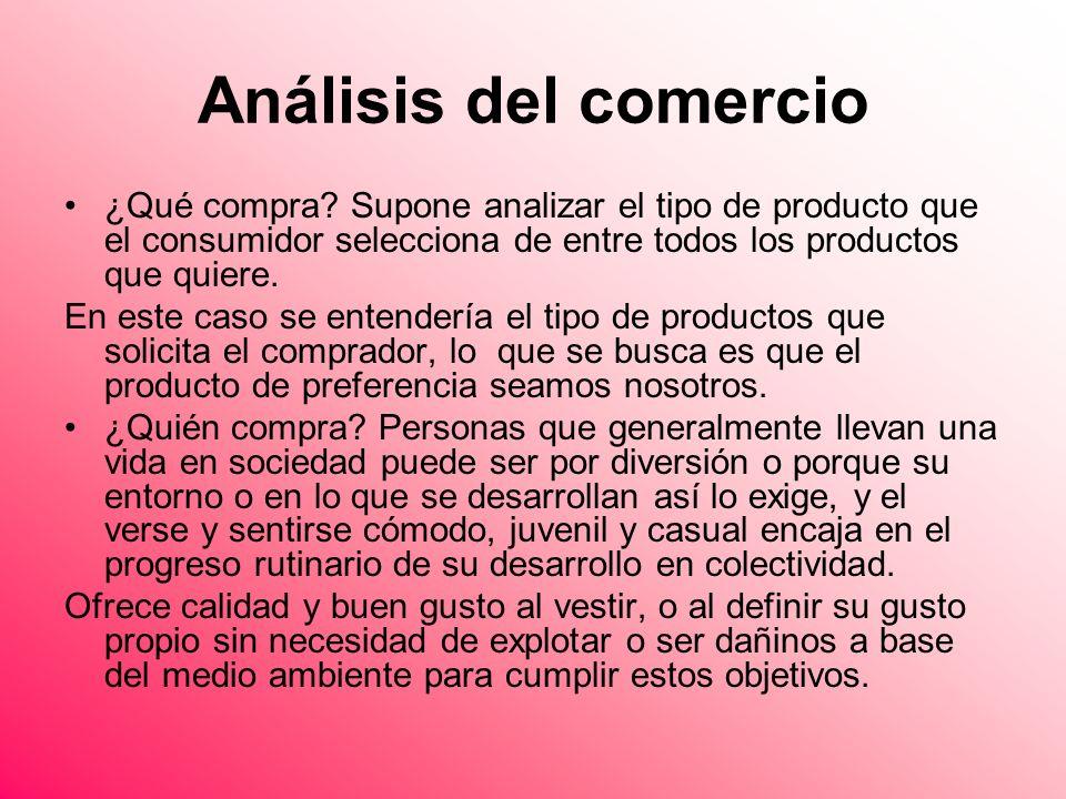 Análisis del comercio ¿Qué compra Supone analizar el tipo de producto que el consumidor selecciona de entre todos los productos que quiere.
