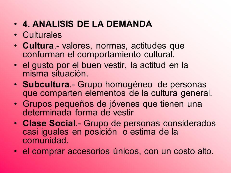 4. ANALISIS DE LA DEMANDA Culturales. Cultura.- valores, normas, actitudes que conforman el comportamiento cultural.