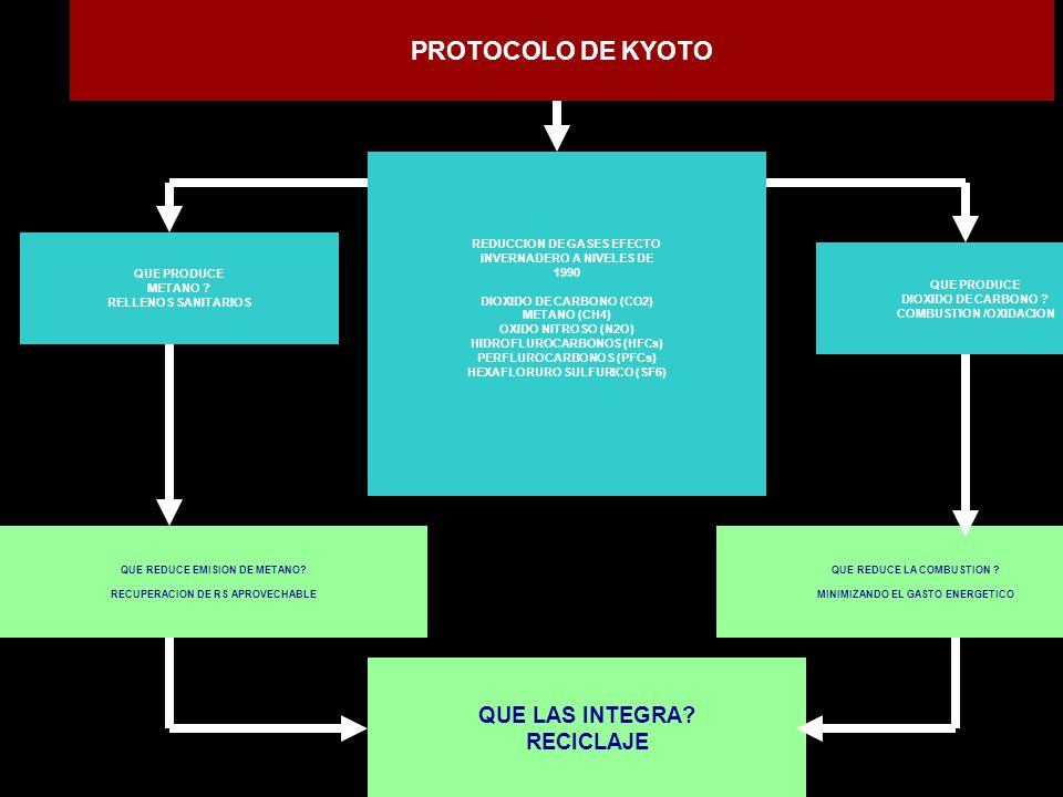 PROTOCOLO DE KYOTO QUE LAS INTEGRA RECICLAJE
