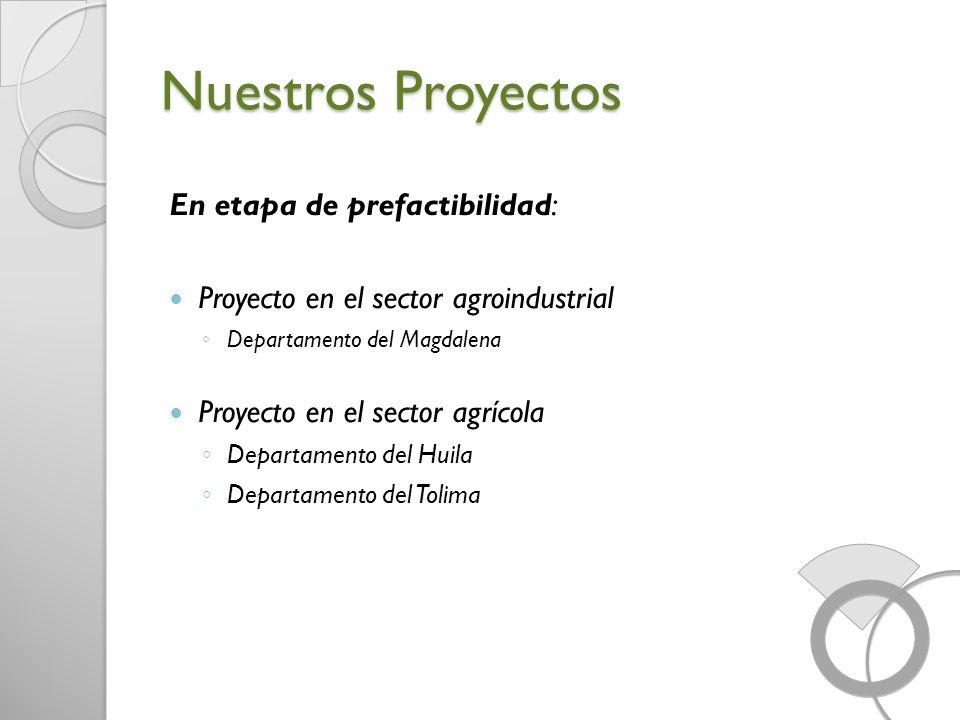 Nuestros Proyectos En etapa de prefactibilidad: