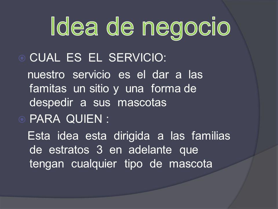 Idea de negocio CUAL ES EL SERVICIO: