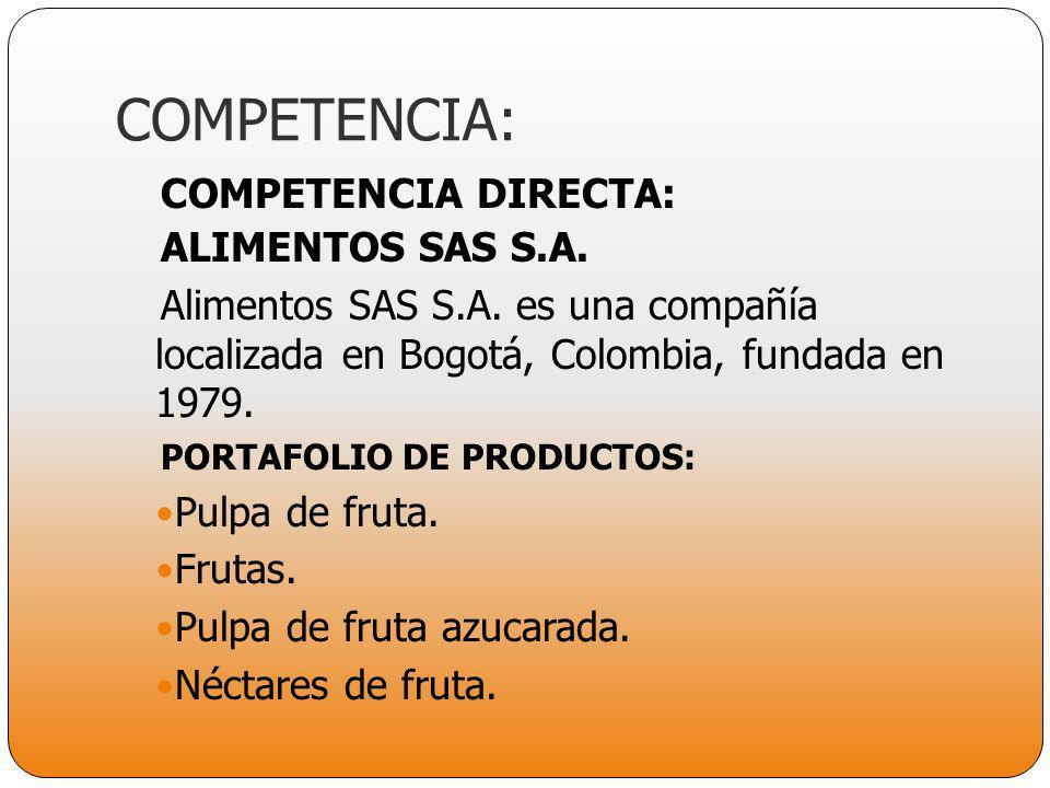 COMPETENCIA: COMPETENCIA DIRECTA: ALIMENTOS SAS S.A.