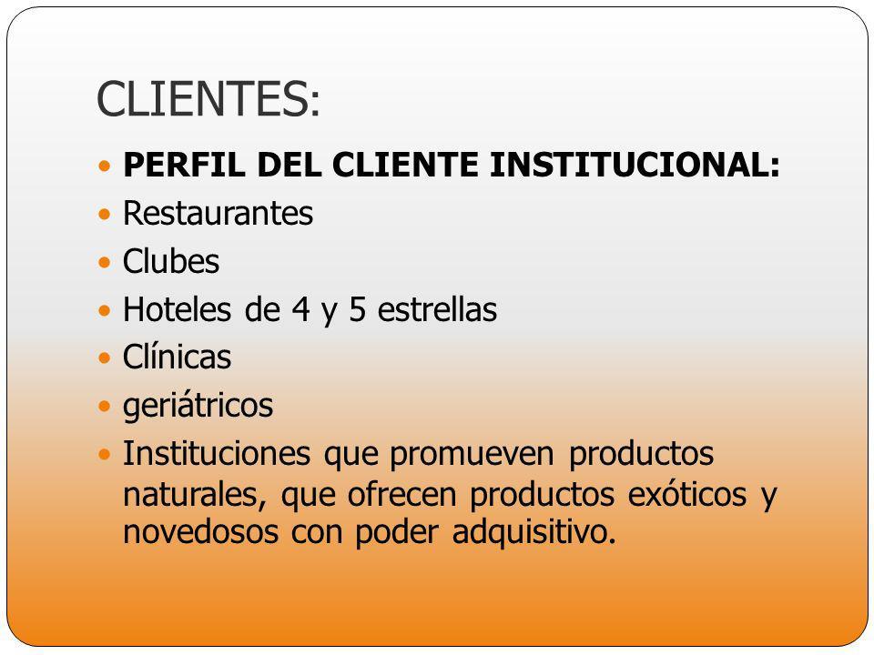 CLIENTES: PERFIL DEL CLIENTE INSTITUCIONAL: Restaurantes Clubes