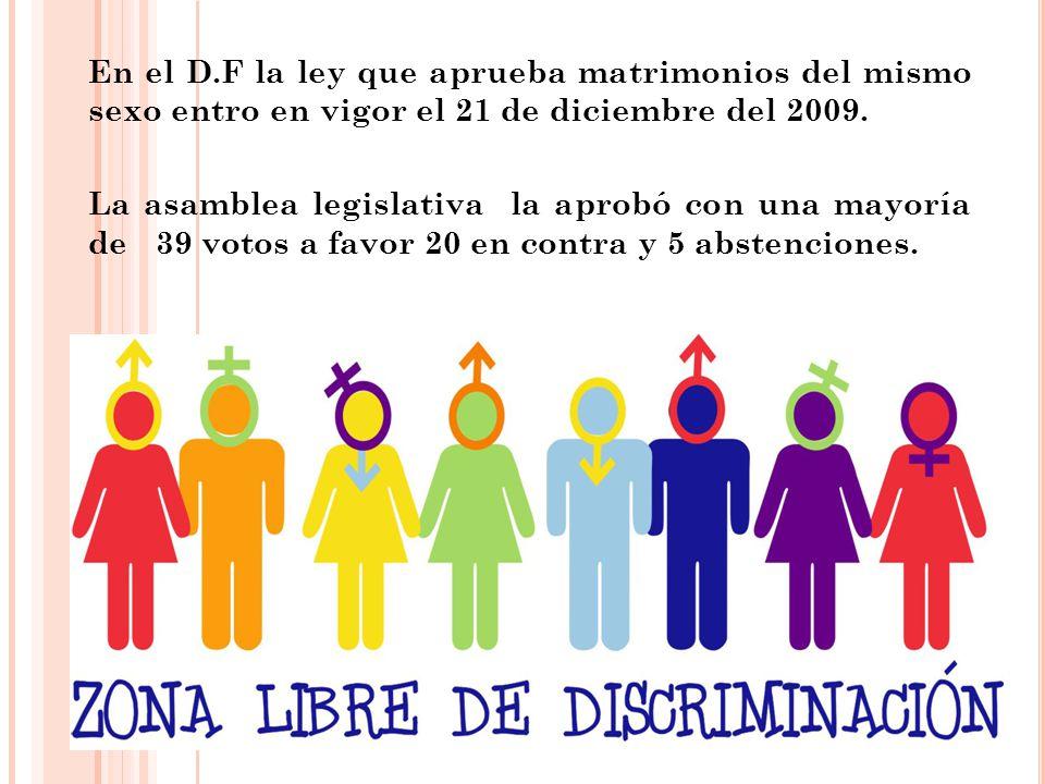 En el D.F la ley que aprueba matrimonios del mismo sexo entro en vigor el 21 de diciembre del 2009.