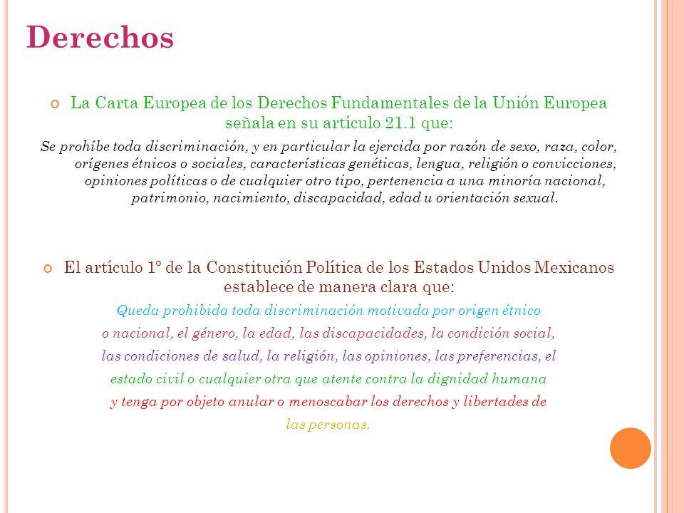 Derechos La Carta Europea de los Derechos Fundamentales de la Unión Europea señala en su artículo 21.1 que:
