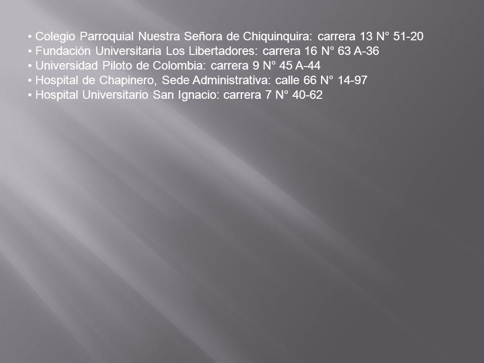 • Colegio Parroquial Nuestra Señora de Chiquinquira: carrera 13 N° 51-20