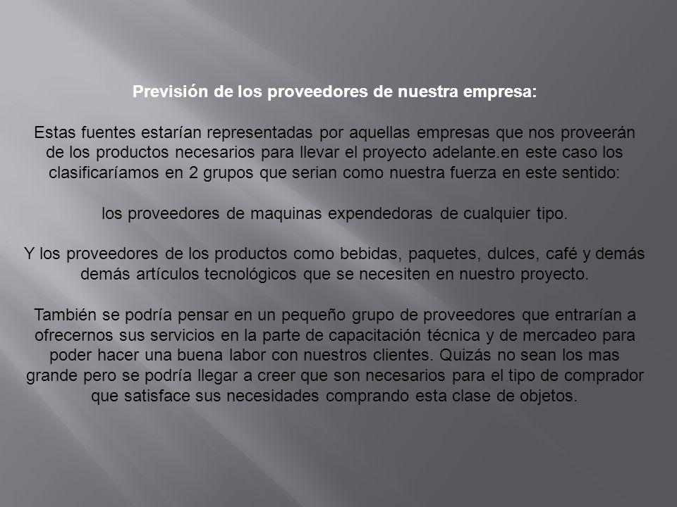 Previsión de los proveedores de nuestra empresa: