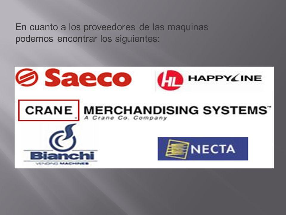 En cuanto a los proveedores de las maquinas podemos encontrar los siguientes: