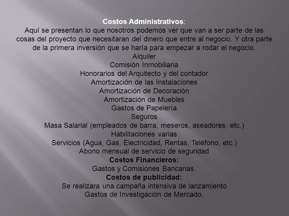 Costos Administrativos: