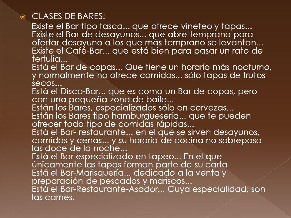CLASES DE BARES:
