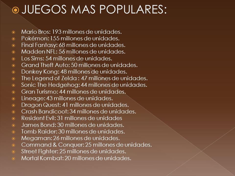 JUEGOS MAS POPULARES: Mario Bros: 193 millones de unidades.