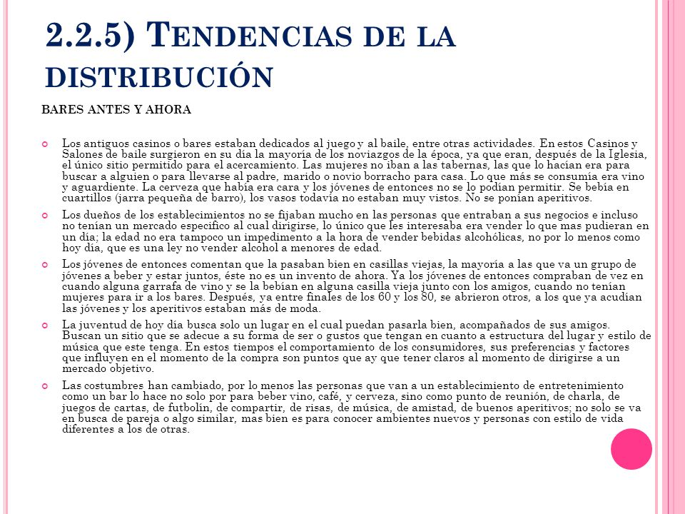 2.2.5) Tendencias de la distribución