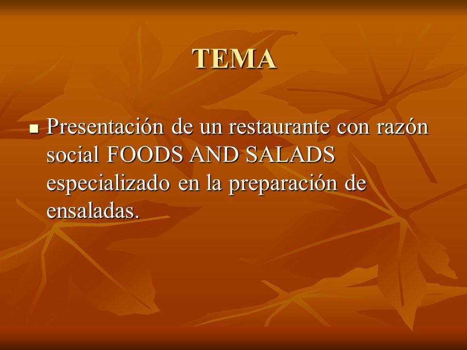 TEMA Presentación de un restaurante con razón social FOODS AND SALADS especializado en la preparación de ensaladas.