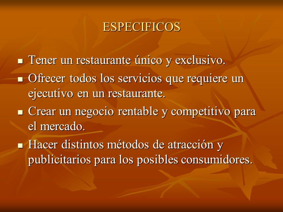 ESPECIFICOS Tener un restaurante único y exclusivo. Ofrecer todos los servicios que requiere un ejecutivo en un restaurante.