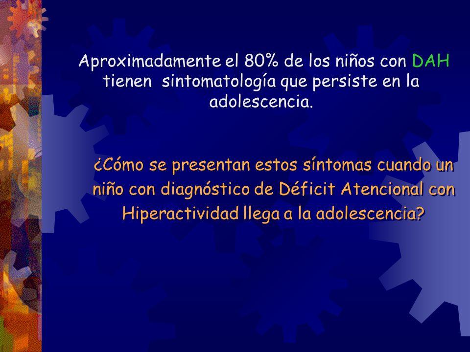 Aproximadamente el 80% de los niños con DAH tienen sintomatología que persiste en la adolescencia.