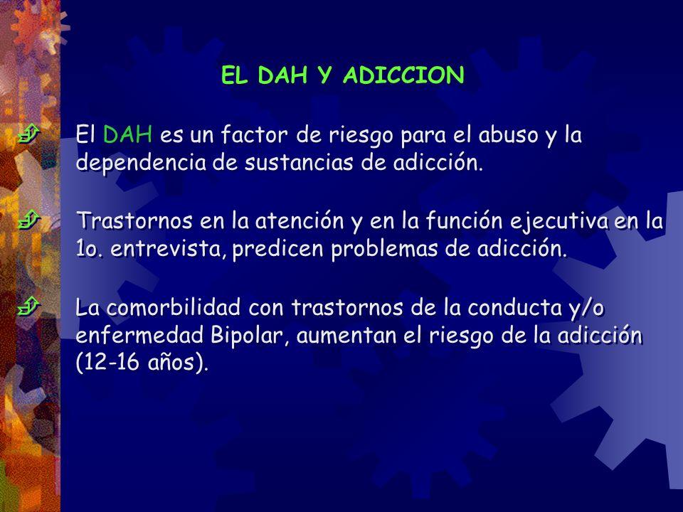EL DAH Y ADICCION  El DAH es un factor de riesgo para el abuso y la dependencia de sustancias de adicción.