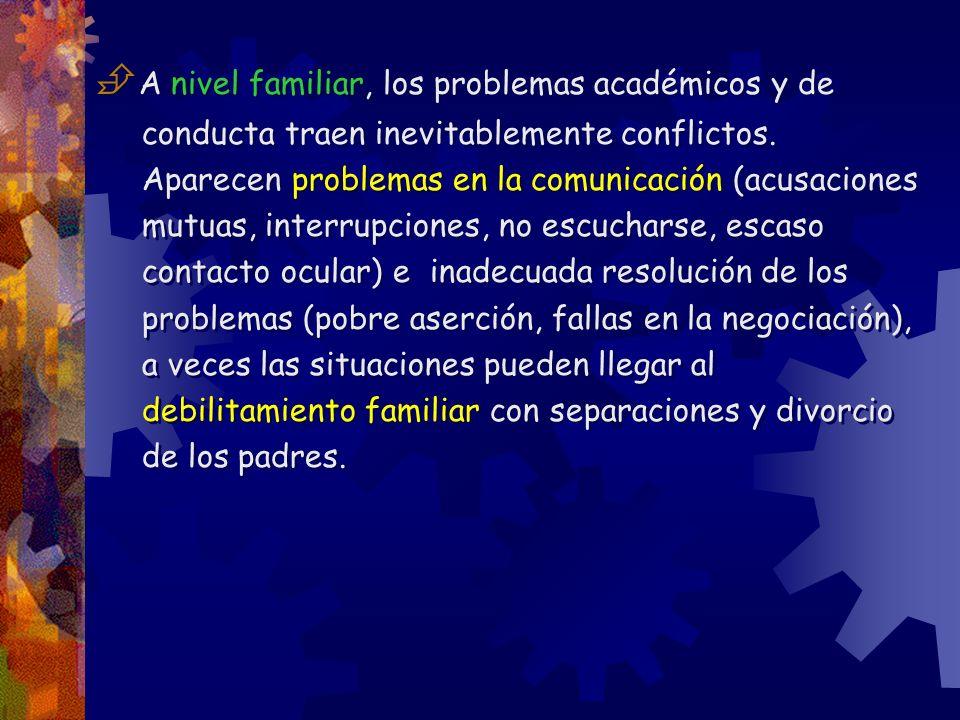 A nivel familiar, los problemas académicos y de conducta traen inevitablemente conflictos.