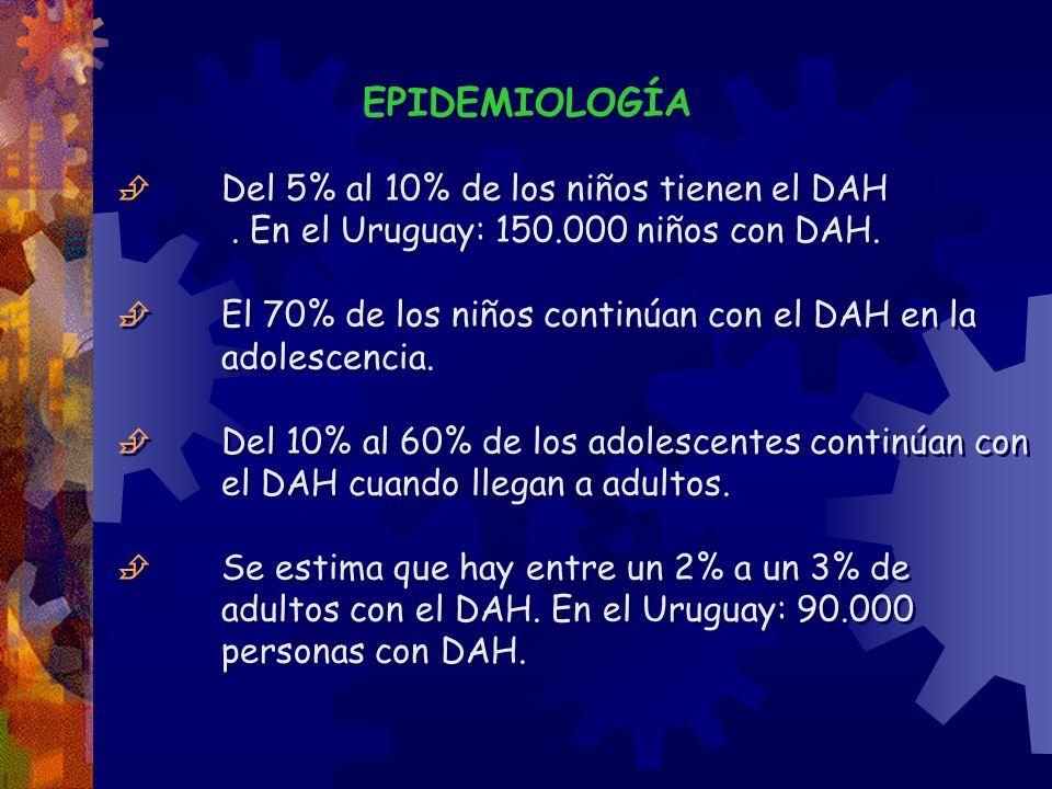 EPIDEMIOLOGÍA  Del 5% al 10% de los niños tienen el DAH