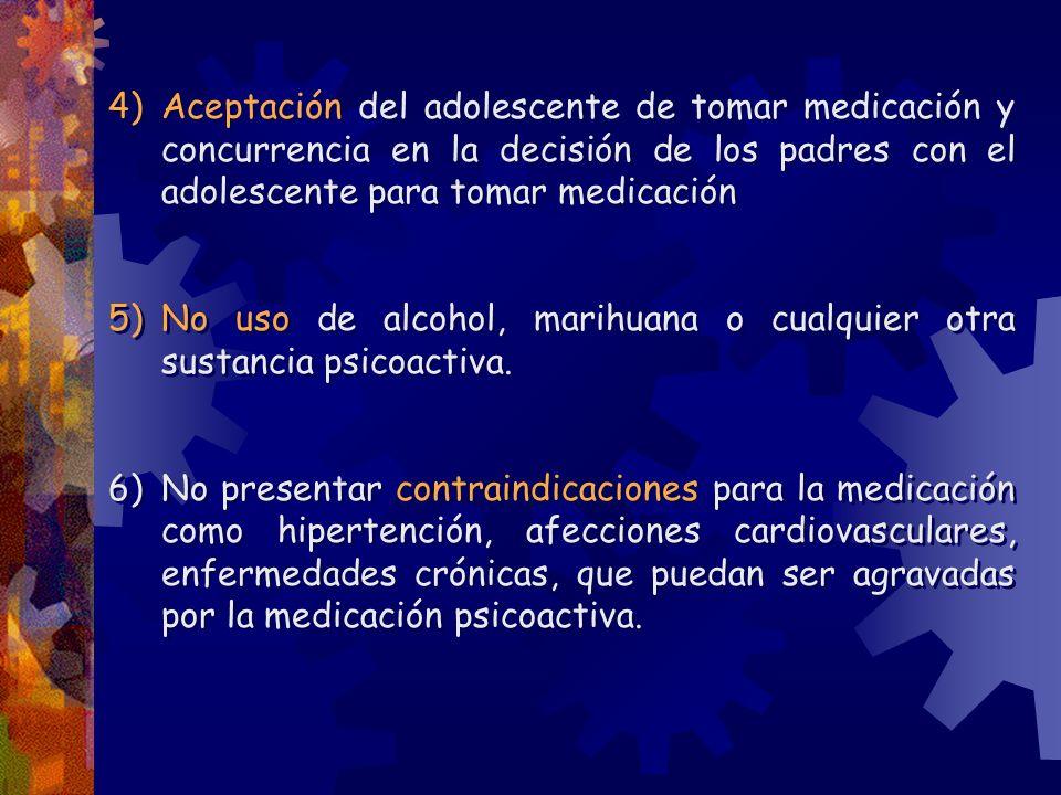 Aceptación del adolescente de tomar medicación y concurrencia en la decisión de los padres con el adolescente para tomar medicación