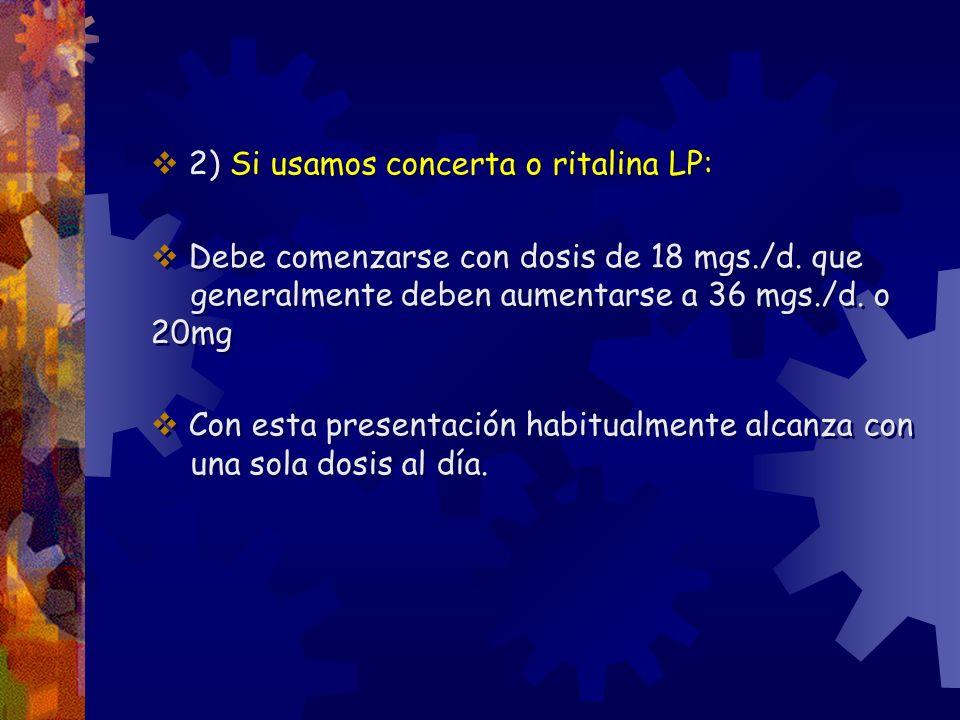 2) Si usamos concerta o ritalina LP: