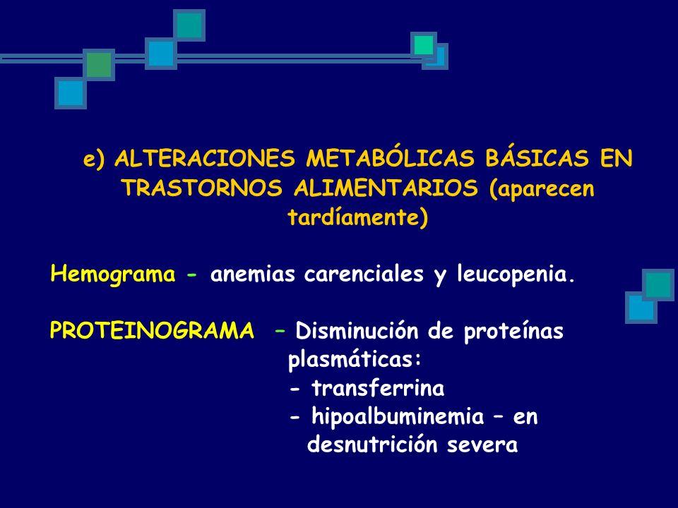 e) ALTERACIONES METABÓLICAS BÁSICAS EN TRASTORNOS ALIMENTARIOS (aparecen tardíamente)