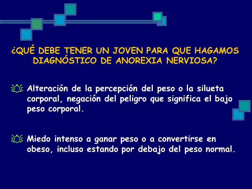 ¿QUÉ DEBE TENER UN JOVEN PARA QUE HAGAMOS DIAGNÓSTICO DE ANOREXIA NERVIOSA