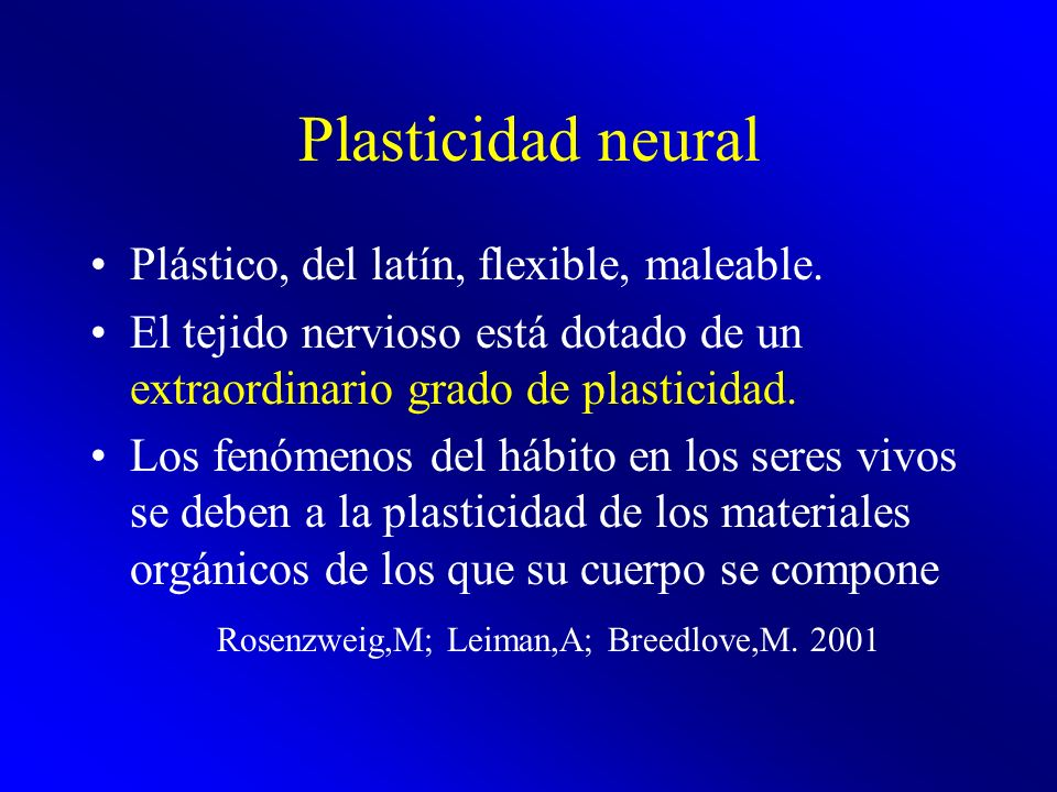 Plasticidad neural Plástico, del latín, flexible, maleable.