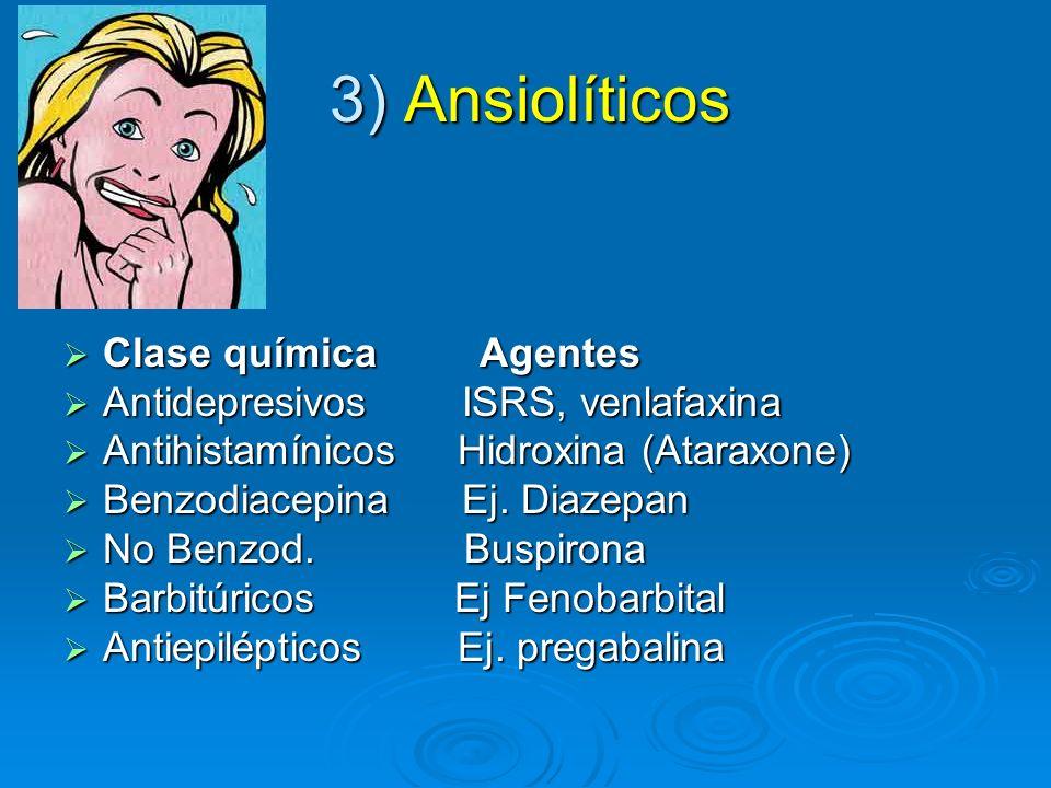 3) Ansiolíticos Clase química Agentes Antidepresivos ISRS, venlafaxina